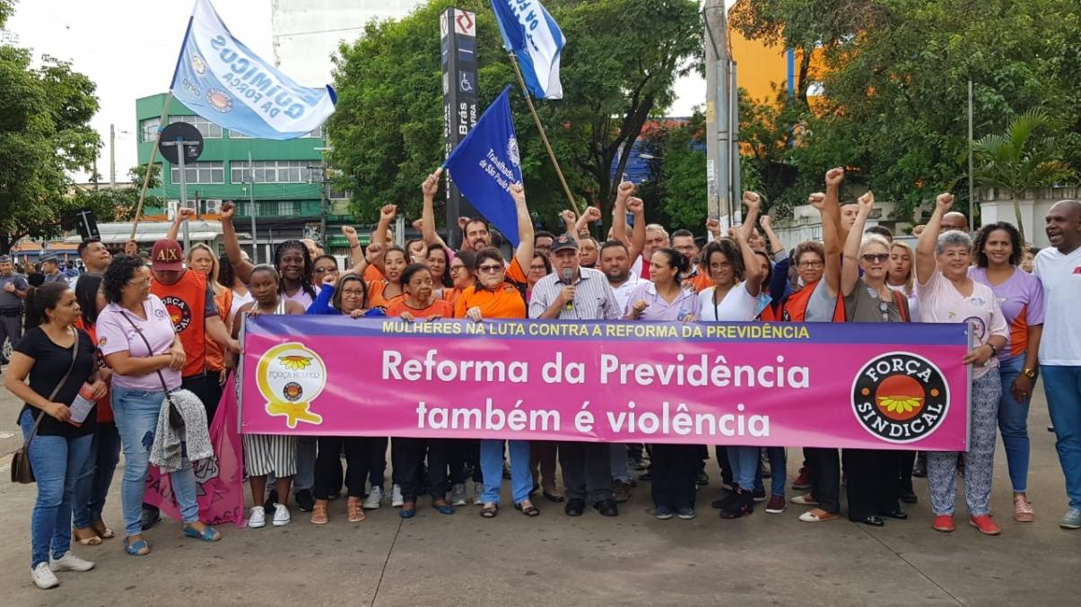 Força Sindical faz ato, em São Paulo, para marcar o Dia Internacional das Mulheres